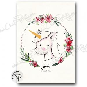 Affiche de naissance licorne mignonne cadeau original fille