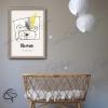Affiche de naissance ours personnalisable prénom garçon avec cadre