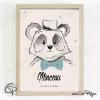 Affiche de naissance panda personnalisé pour garçon