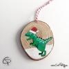 Suspension pour sapin de Noël dinosaure personnalisable avec prénom d'enfant