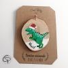 Rondin en bois avec dinosaure peint à la main et prénom personnalisé