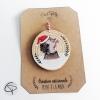 Boule de Noël en bois décoré d'un hérisson fait main à personnaliser
