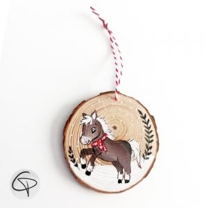 Décoration originale artisanale sapin de Noël poney personnalisable