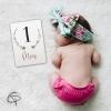 Carte étapes fille à remplir premier mois du bébé avec photo verso à compléter pour se souvenir