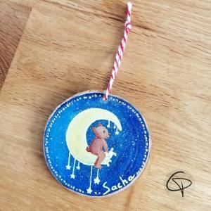 Rondin de bois artisanal pour sapin de Noël avec aquarelle sur demande