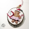 Décoration pour sapin de Noël biscuit jupe rose à personnaliser avec prénom enfant fille