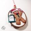 Tibiscuit noeud papillon rouge et vert prénom personnalisable pour décorer le sapin