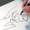 Dessin fait main de créateur avec mains de couple style line art