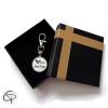 Porte-clé beau-papa avec boîte cadeau noir ruban cuir