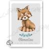 Affiche de naissance panda roux personnalisé avec prénom de bébé