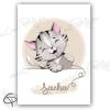 Affiche de naissance chaton avec prénom du bébé en laine
