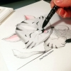 Illustration faite main de mignon chaton
