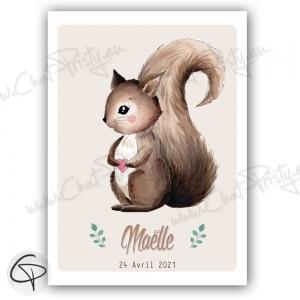 Affiche de naissance avec écureuil personnalisé prénom d'un garçon ou fille
