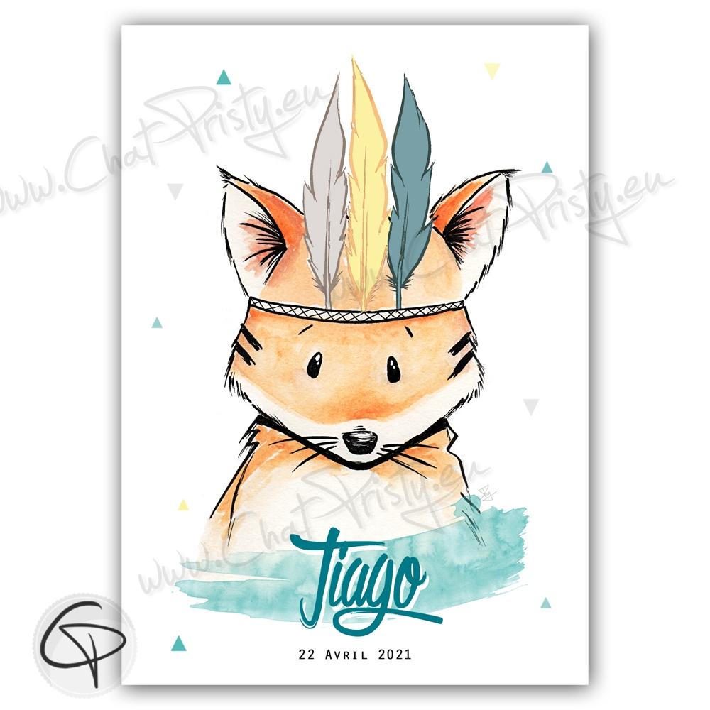 Cadeau de naissance avec renard aux couleurs entièrement personnalisables