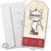 Faire-part de naissance papier vertical illustré d'un chat et enveloppe fournie
