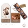 Faire-part naissance papier vertical et photos en marque-page