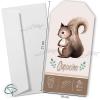 Faire-part de naissance petit écureuil livré avec enveloppe blanche