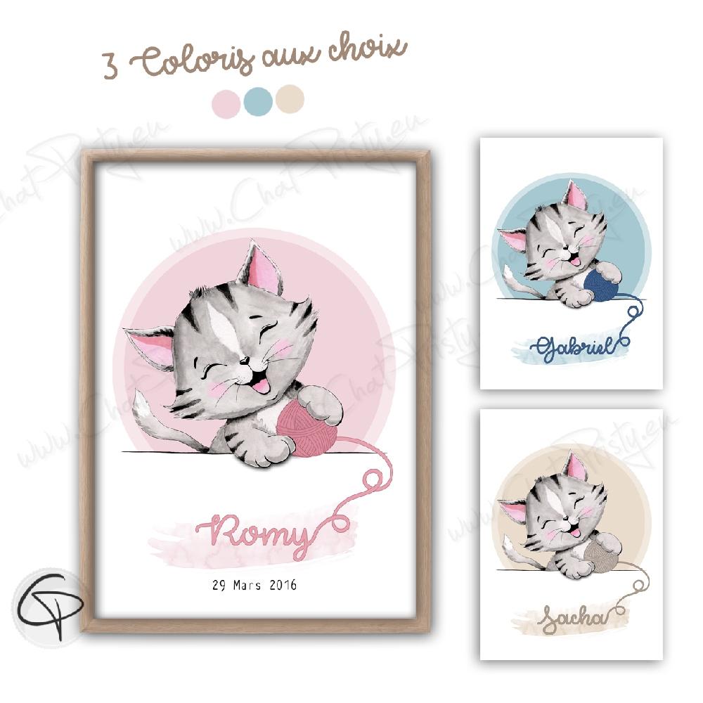 Affiche naissance chaton joue pelote personnalisable mixte