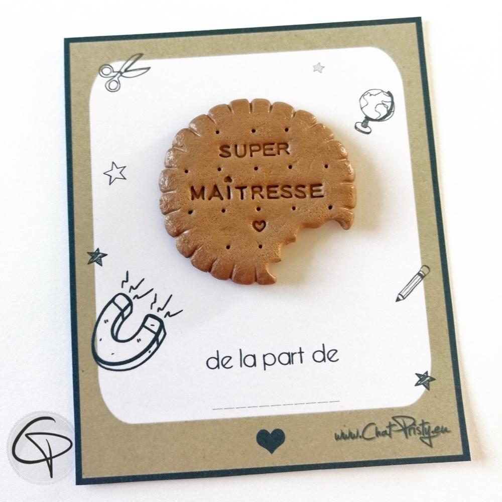 Biscuit rond avec gravure Super Maîtresse à offrir en cadeau