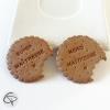Magnets biscuités de forme ronde croquée super ou merci maîtresse