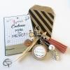 Cadeau original école porte-clef de sac avec un beau pompon en cuir