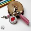 Porte-clé avec médaillon à personnaliser avec le dessin de votre enfant
