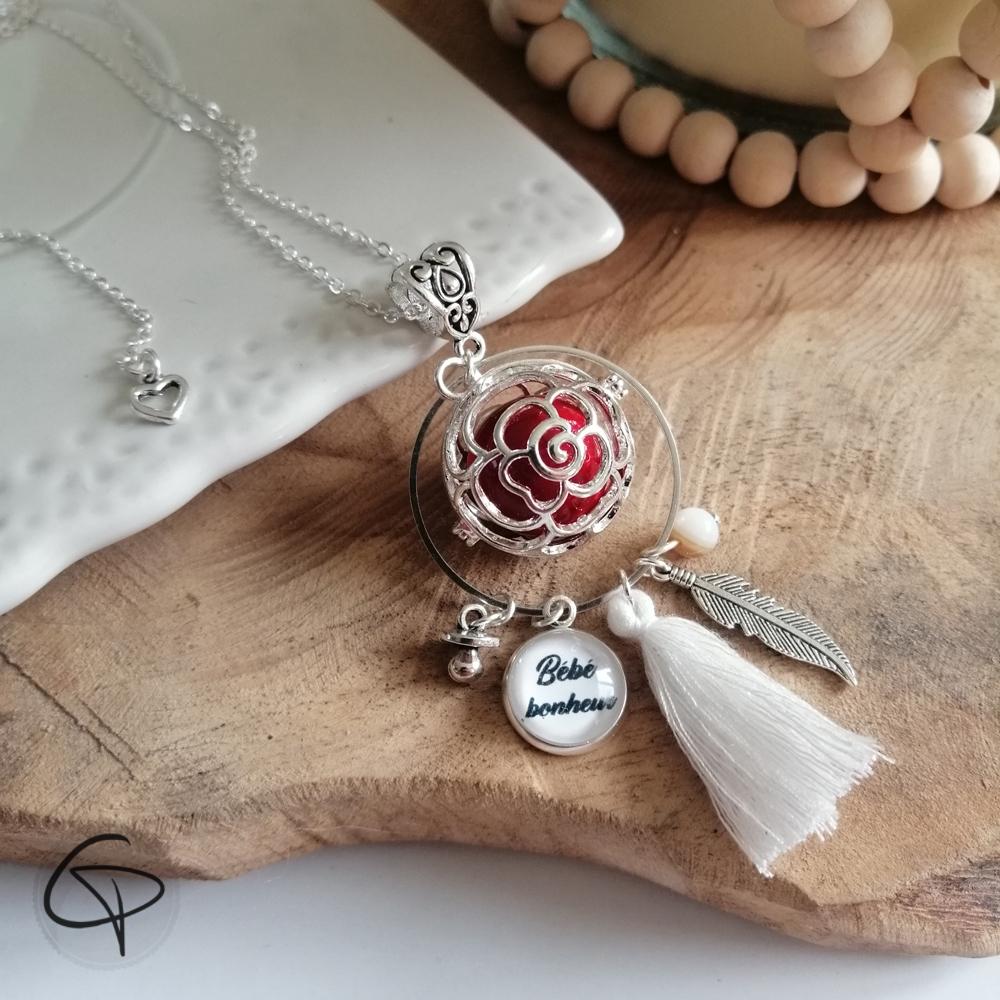 Cage bola de grossesse en forme de fleur avec pompon breloque et médaille personnalisable