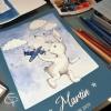 doudou illustrée sur papier à encadrer pour décorer la chambre du bébé