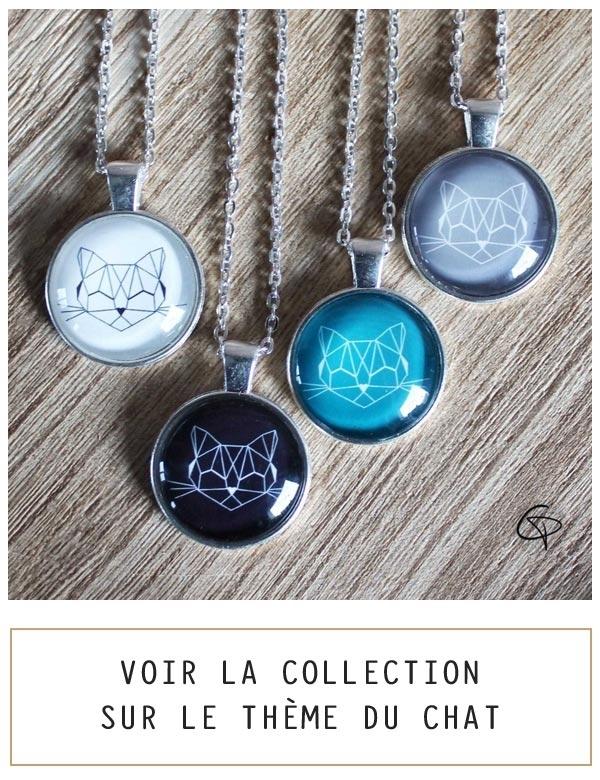 Bijoux originaux sur le thème du chat, illustrations de créateur