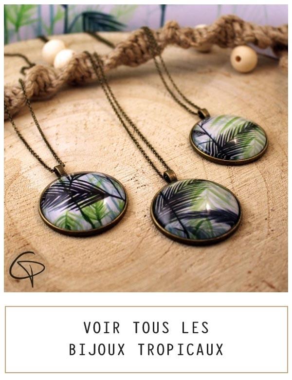 Bijoux originaux aux motifs tropicaux, dessin de feuilles de palmier