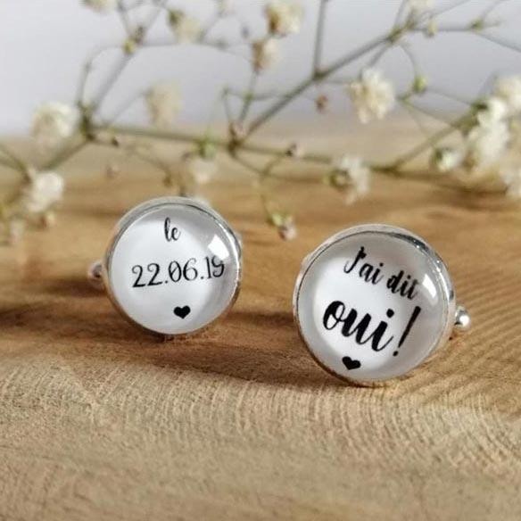 Boutons de manchette pour homme personnalisables cérémonie de mariage