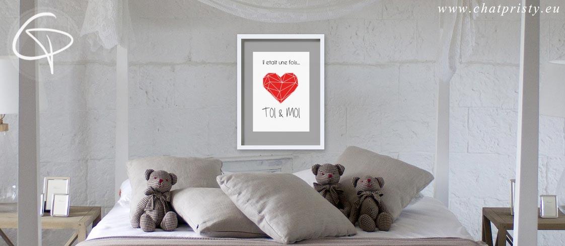 affiche coeur origami cadeau couple Saint Valentin cadre au-dessus du lit dans la chambre