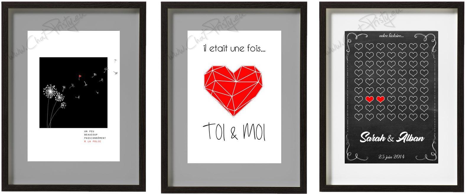 affiche mariage personnalisé couple amour