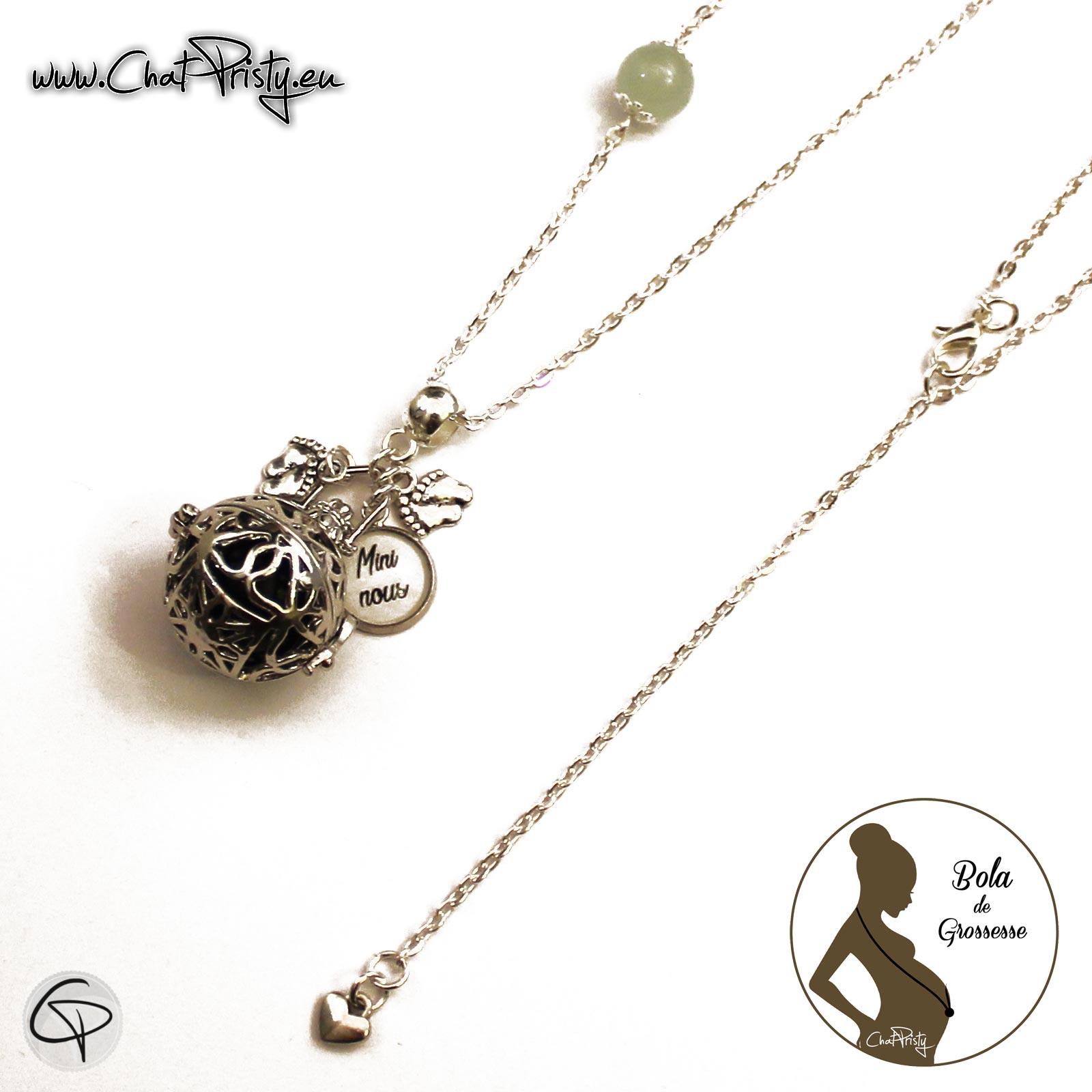 bijou femme enceinte bola de grossesse gémellaire métal argenté avec possibilité de personnalisation