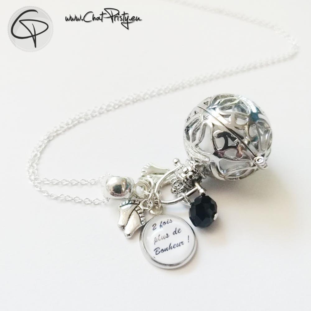 Bola de grossesse avec médaille personnalisée pour jumelles ou jumeaux et perle en cristal