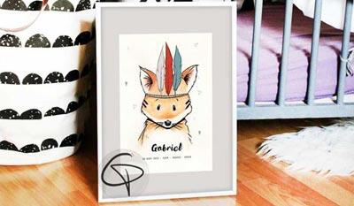 Cadeaux de naissance affiche pour enfant cadeau original et personnalisé prénom bébé chat pristy