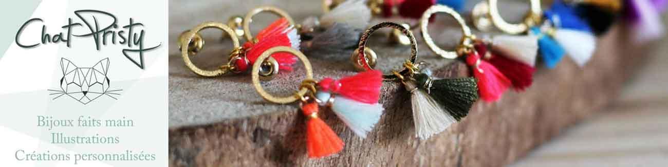 Chat Pristy est une boutique en ligne de bijoux et accessoires faits main