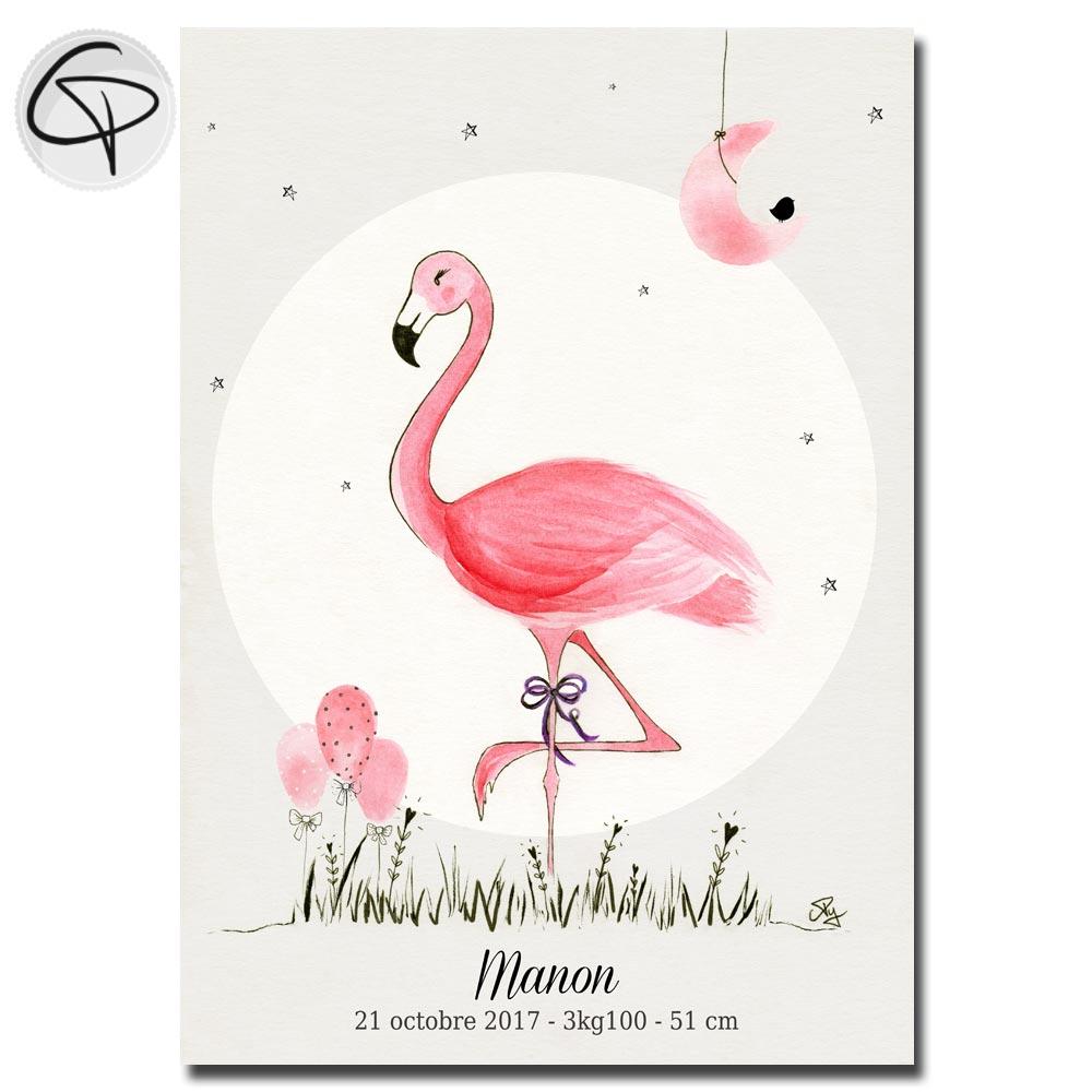 Affiche pour fille flamant rose cadeau de naissance original prénom date lieu de naissance bébé