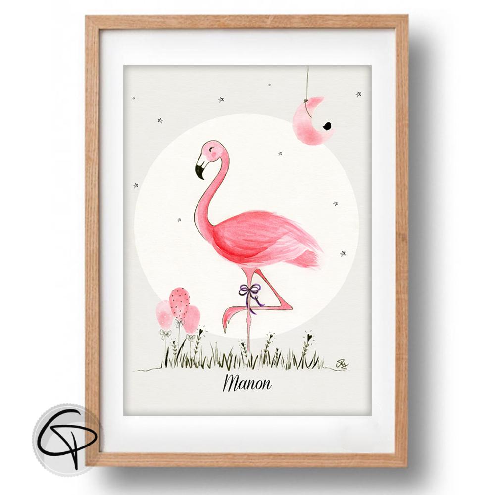Affiche pour enfant flamant rose encadré cadeau de naissance fille originale
