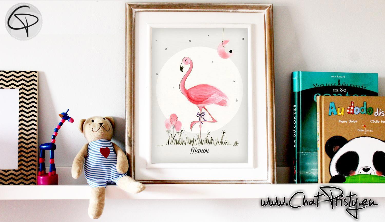 Affiche de naissance chambre bébé cadeau de naissance pour petite fille illustration flamant rose dans un cadre