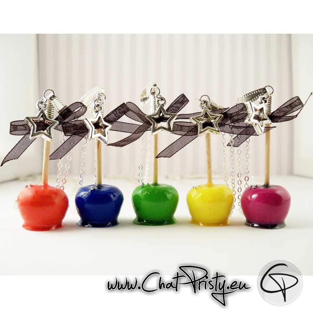 Sautoirs pomme d'amour couleurs au choix fait main Chat Pristy