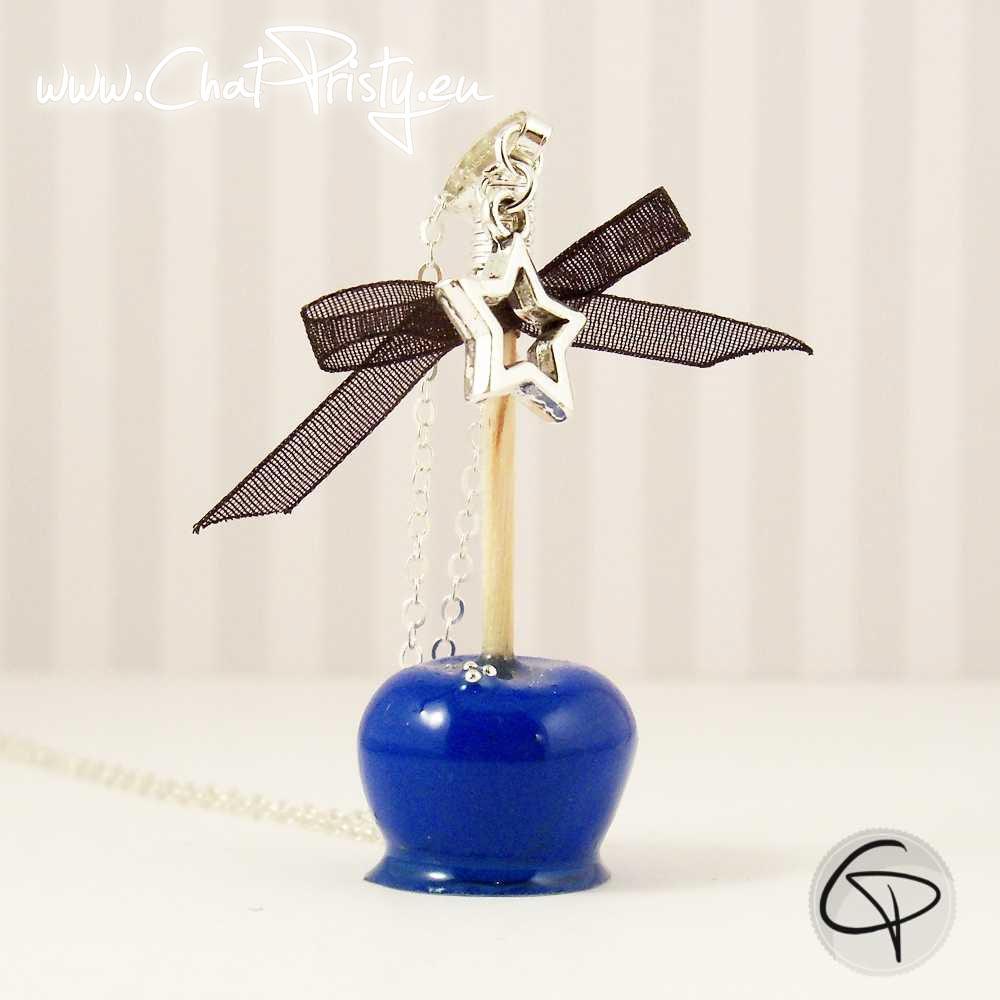 Pendentif pomme d'amour bleu bijou fantaisie pour femme fait main