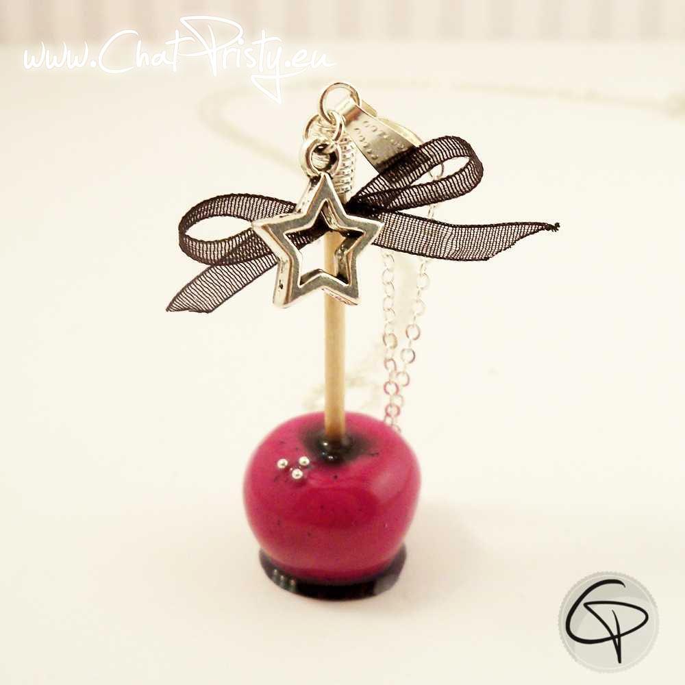 Long collier pomme d'amour rose fuchsia bijou gourmand fait main