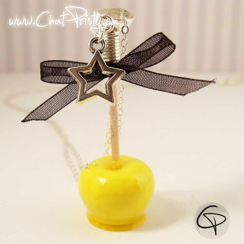 Long sautoir pomme d'amour jaune poussin bijou fantaisie gourmand pour femme