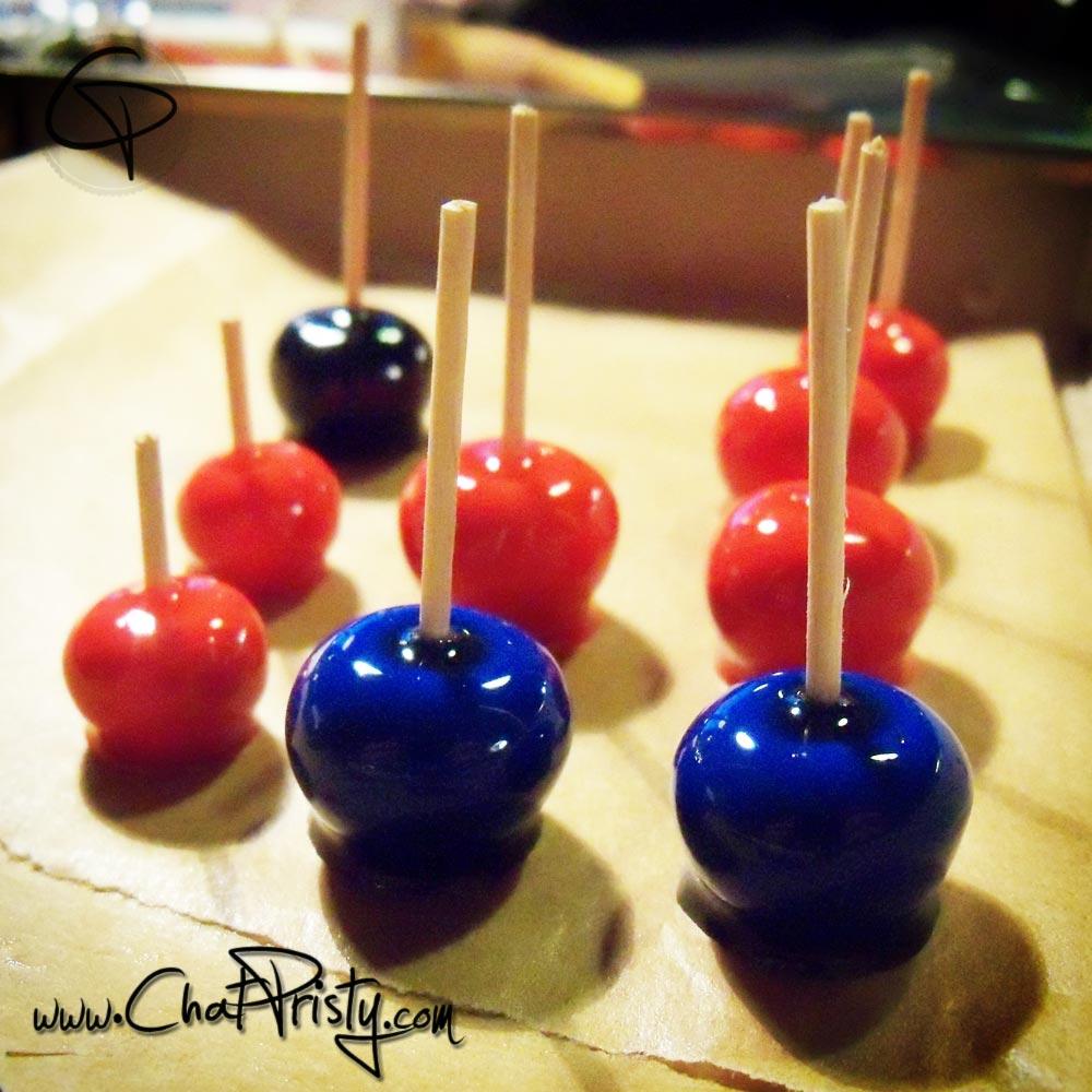 Pommes d'amour étape par étape faits main dans l'atelier Chat Pristy