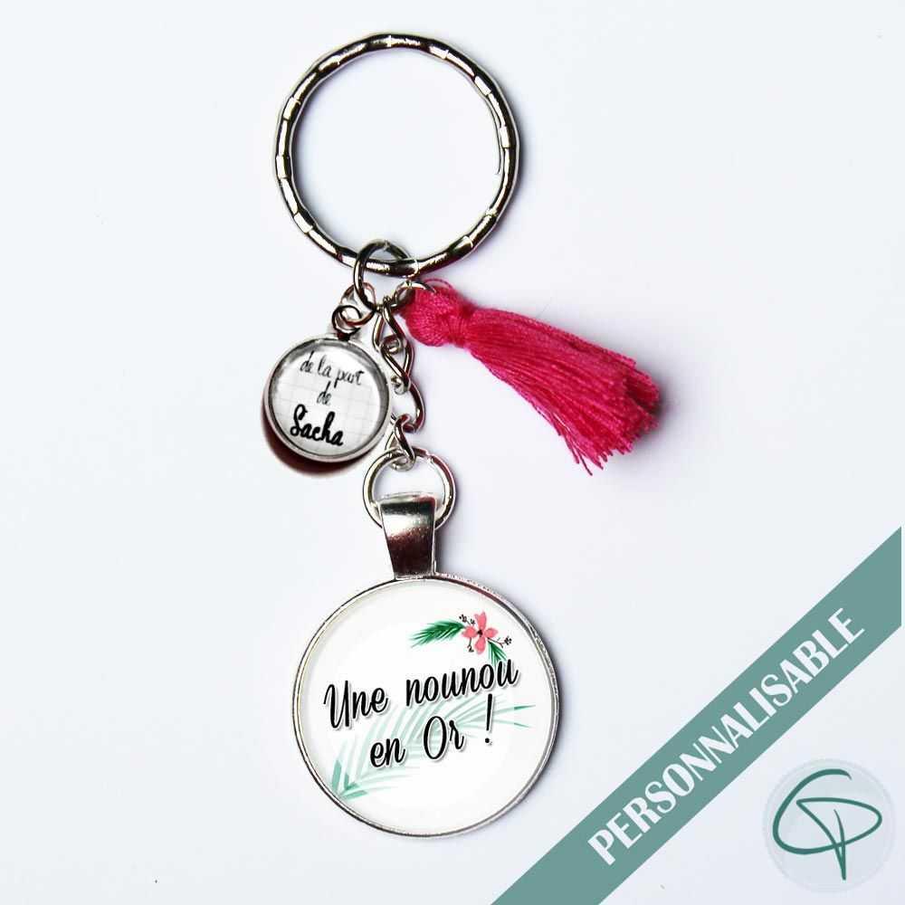 Cadeau original pour nounou un porte-clé personnalisé super nounou prénom enfant