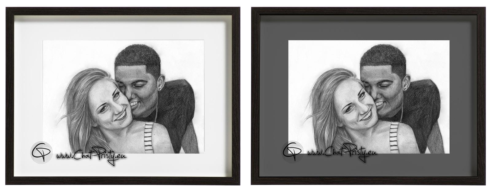 cadre en verre avec le portrait d'un couple de deux personnes dessinées à la main au crayon graphite par Chat Pristy