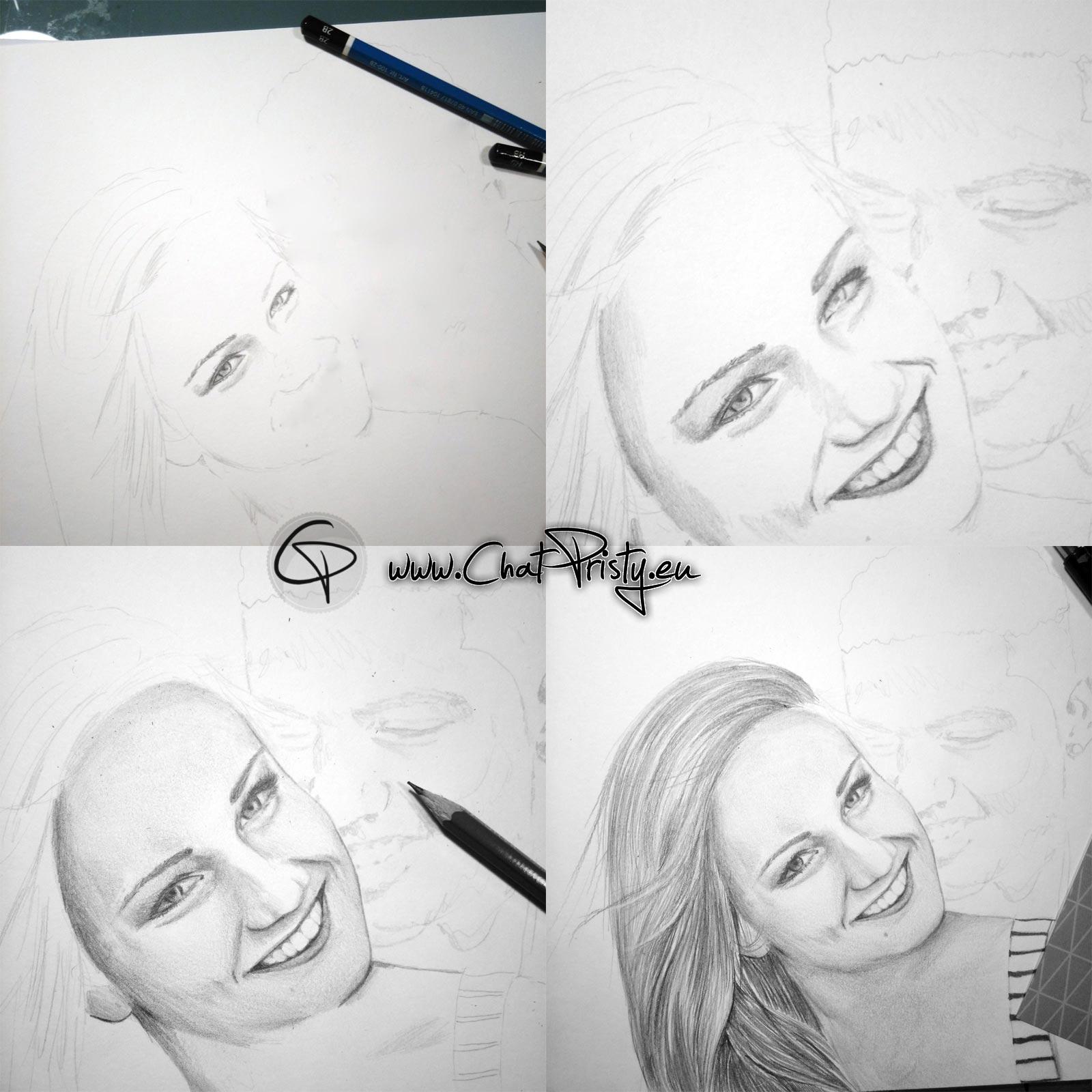 dessin étape par étape d'un portrait de deux personne au crayon de papier par Chat Pristy