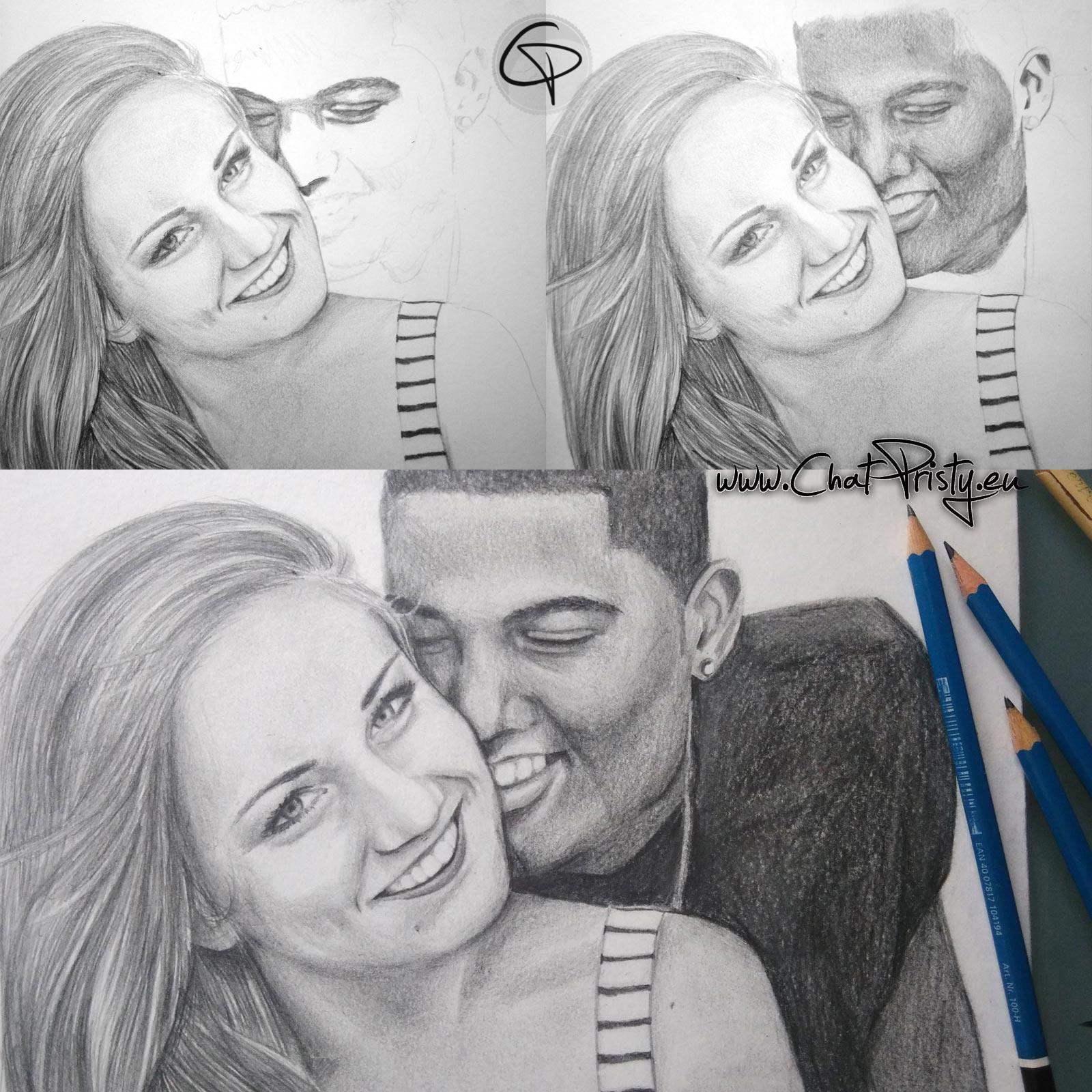 portrait étape par étape dessin crayon graphite couple deux personne par Chat Pristy