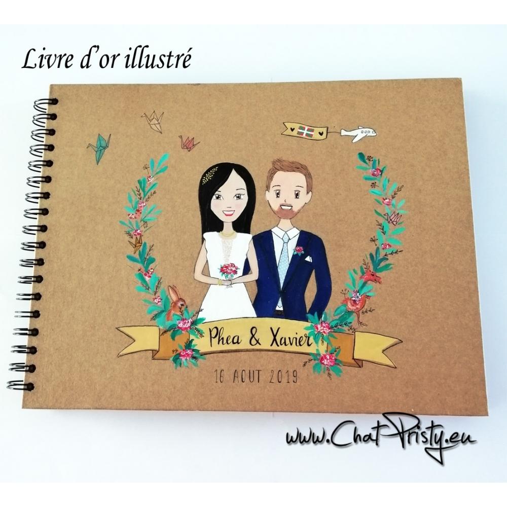 aquarelle sur livre d'or pour mariage champêtre bohème chic